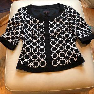 Escada black/white jacket w/snap front size 38/6